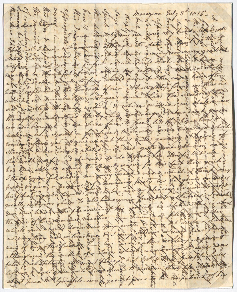 Cross-written letter, 1815 (2015-0004)
