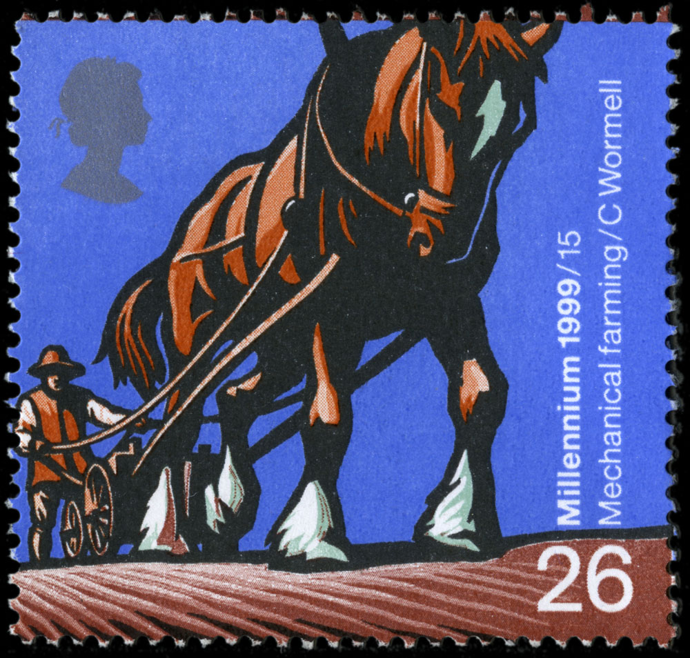Horse pulling a farming plough on a 26 pence stamp.