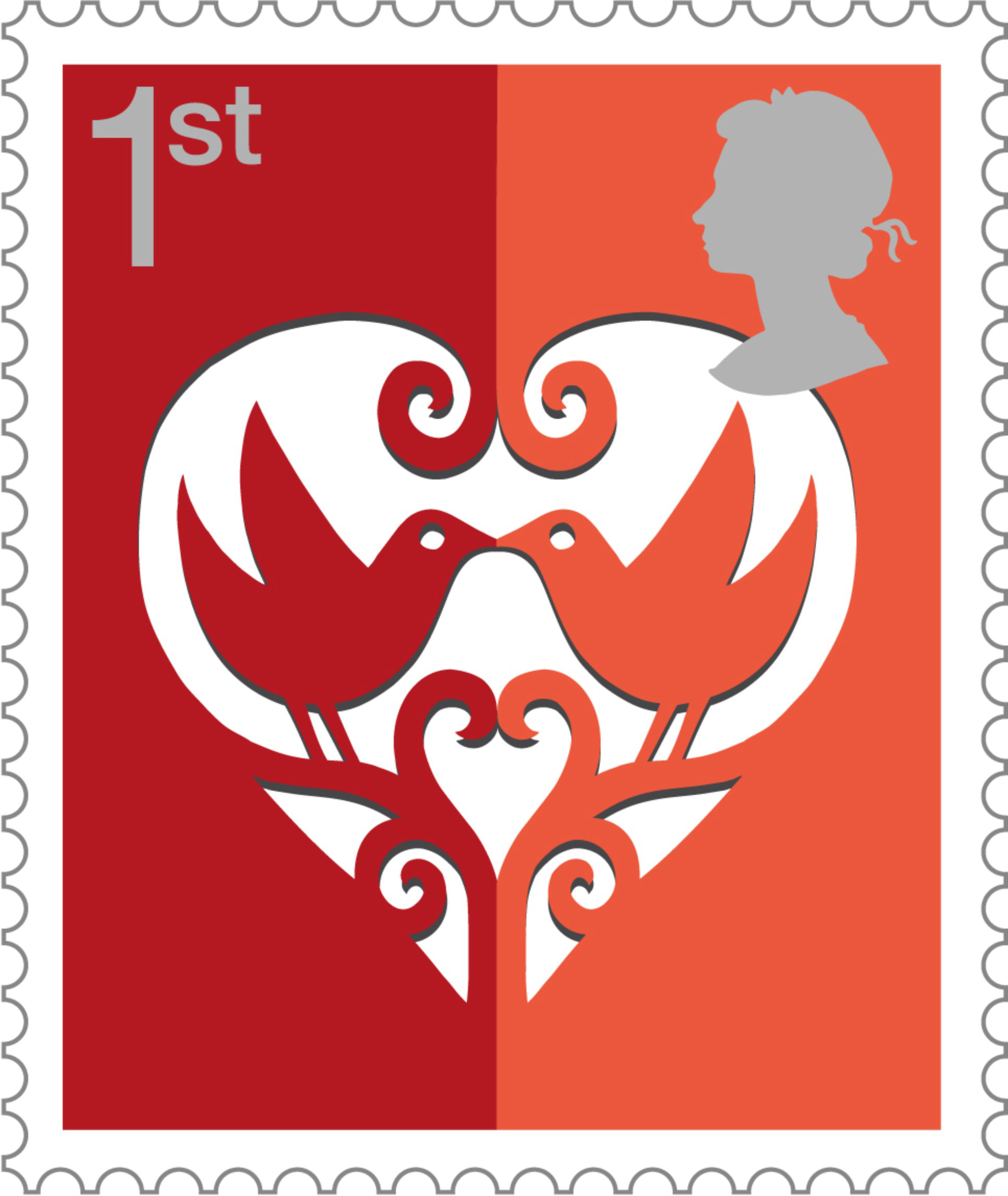 Smiler stamp depicting love, value first class.