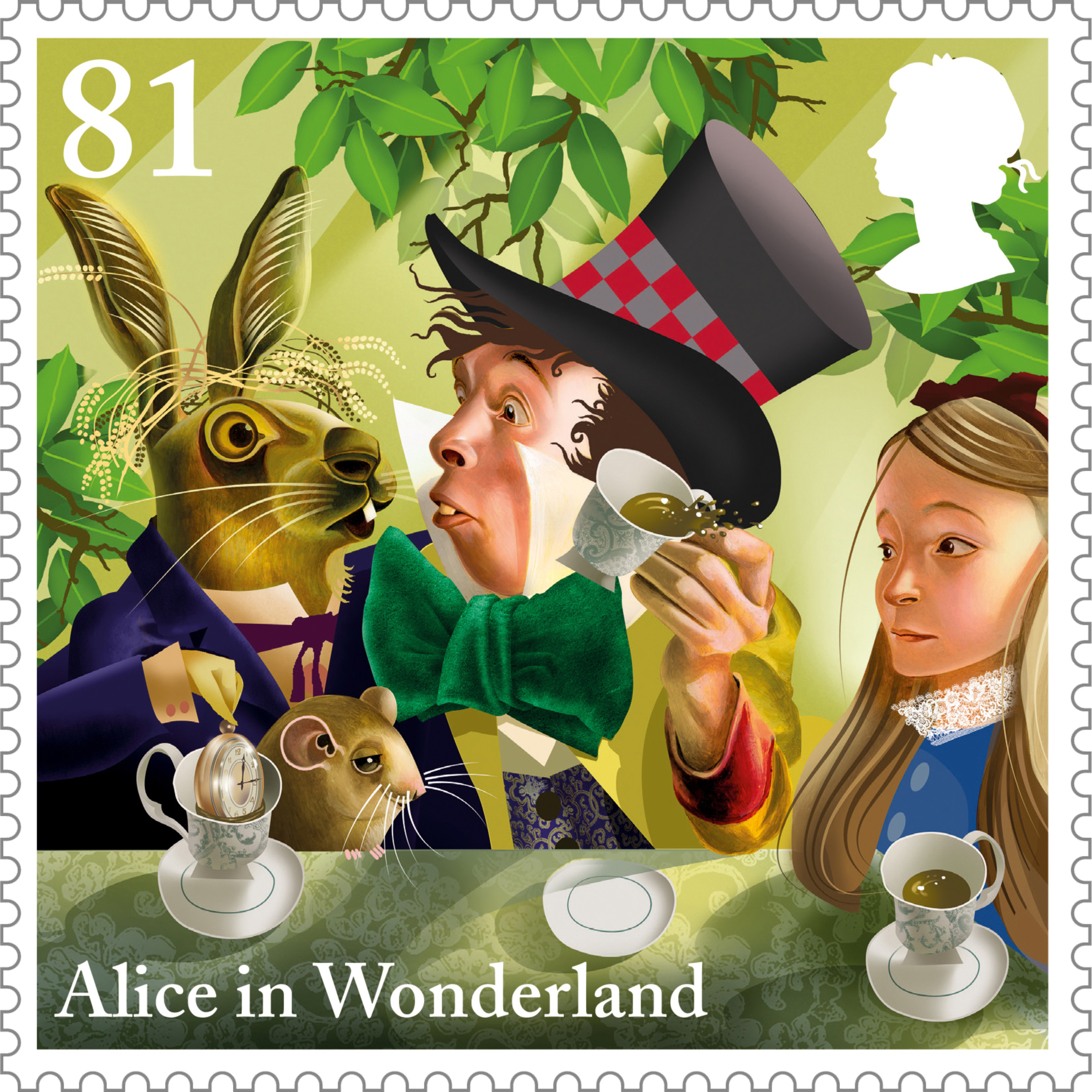 The Mad Hatter's Tea Party from Alice in Wonderland on a 81 pence stamp.