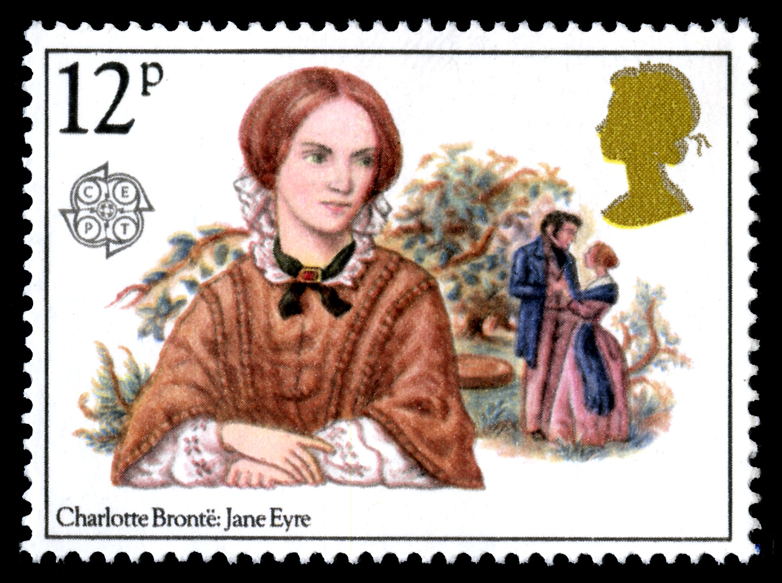 Stamp depicting Charlotte Brontë with an illustration of the novel Jane Eyre in the background. Stamp value of 12 pence.