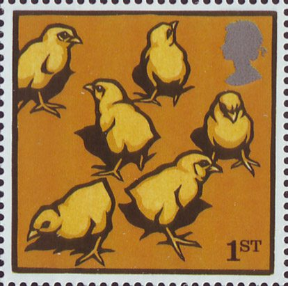 Yellow chicks on a 1st class stamp.