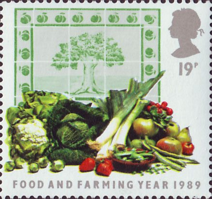 An array of fruit and vegetables on a 19 pence stamp.
