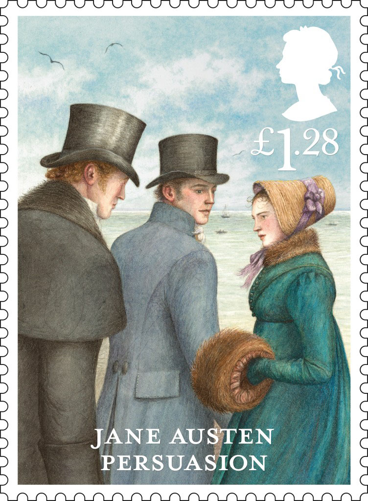 Stamp depicting characters from the novel Persuasion with a value of £1.28.