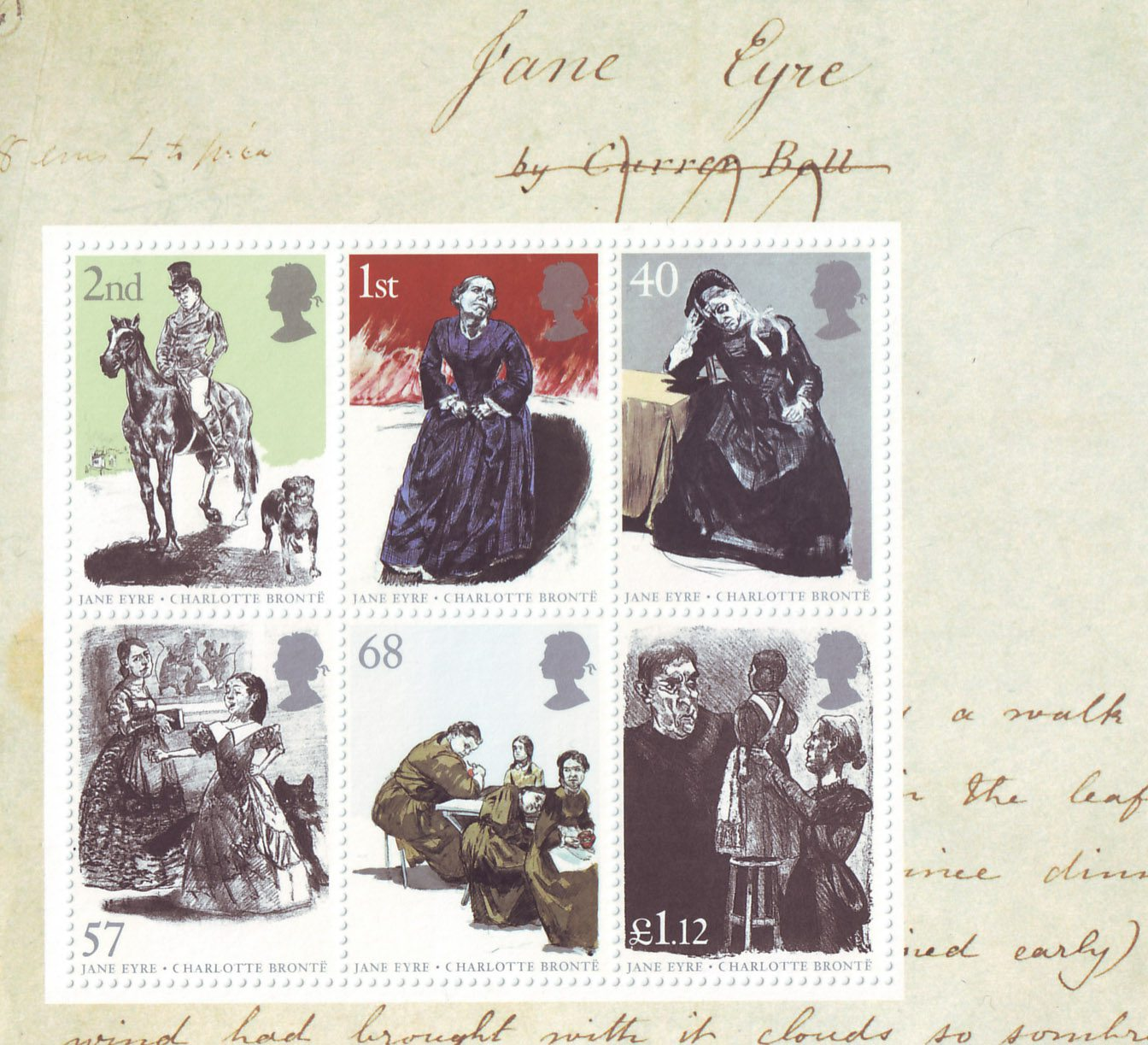 Miniature sheet with 6 stamps depicting characters from the novel Jane Eyre.