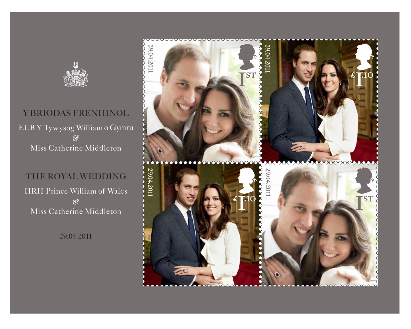 Miniature sheet with images of the royal couple Prince William and Kate Middleton.