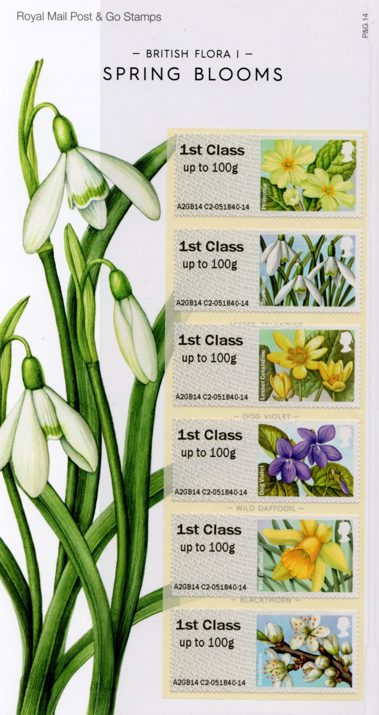 The stamp set of British spring flowers.