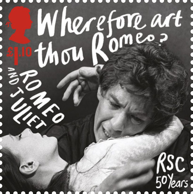 Stamp depicting actors performing Romeo and Juliet at the Royal Shakespeare Company with a value of £1.10.