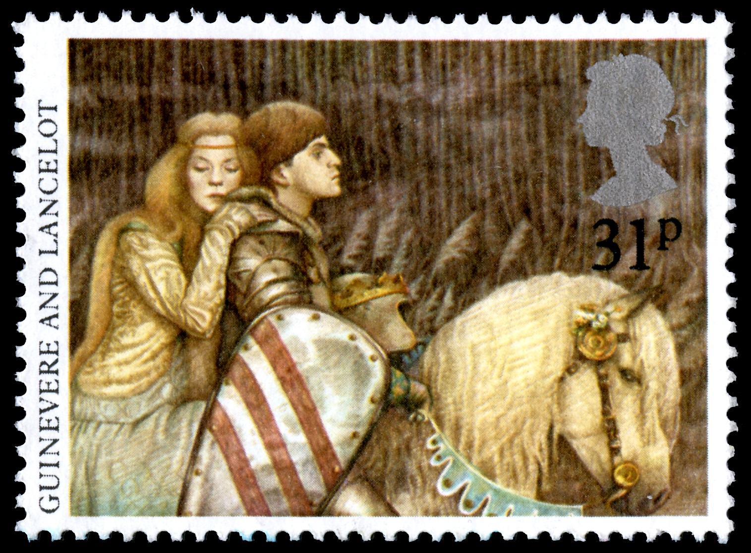 Stamp depicting Queen Guinevere and Sir Lancelot on a horse, with a value of 31 pence.