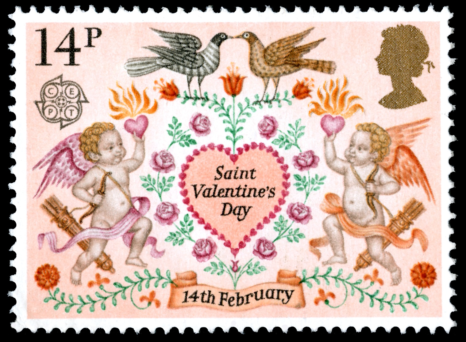 Valentine's Stamp depicting cherubs and birds with a value of 14 pence.