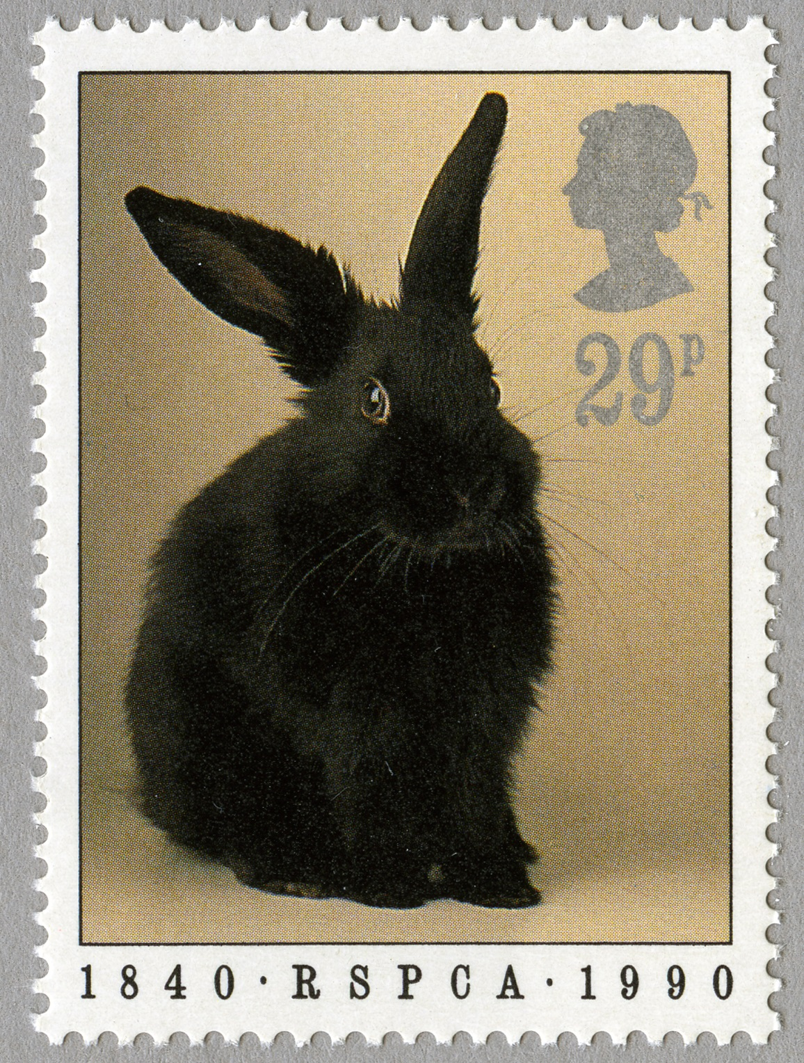 A black rabbit on a 29 pence stamp.