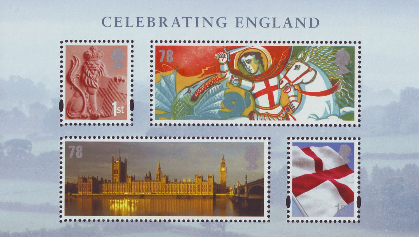 Miniature sheet consisting of iconic English images, including the English Flag, Houses of Parliament and St George.