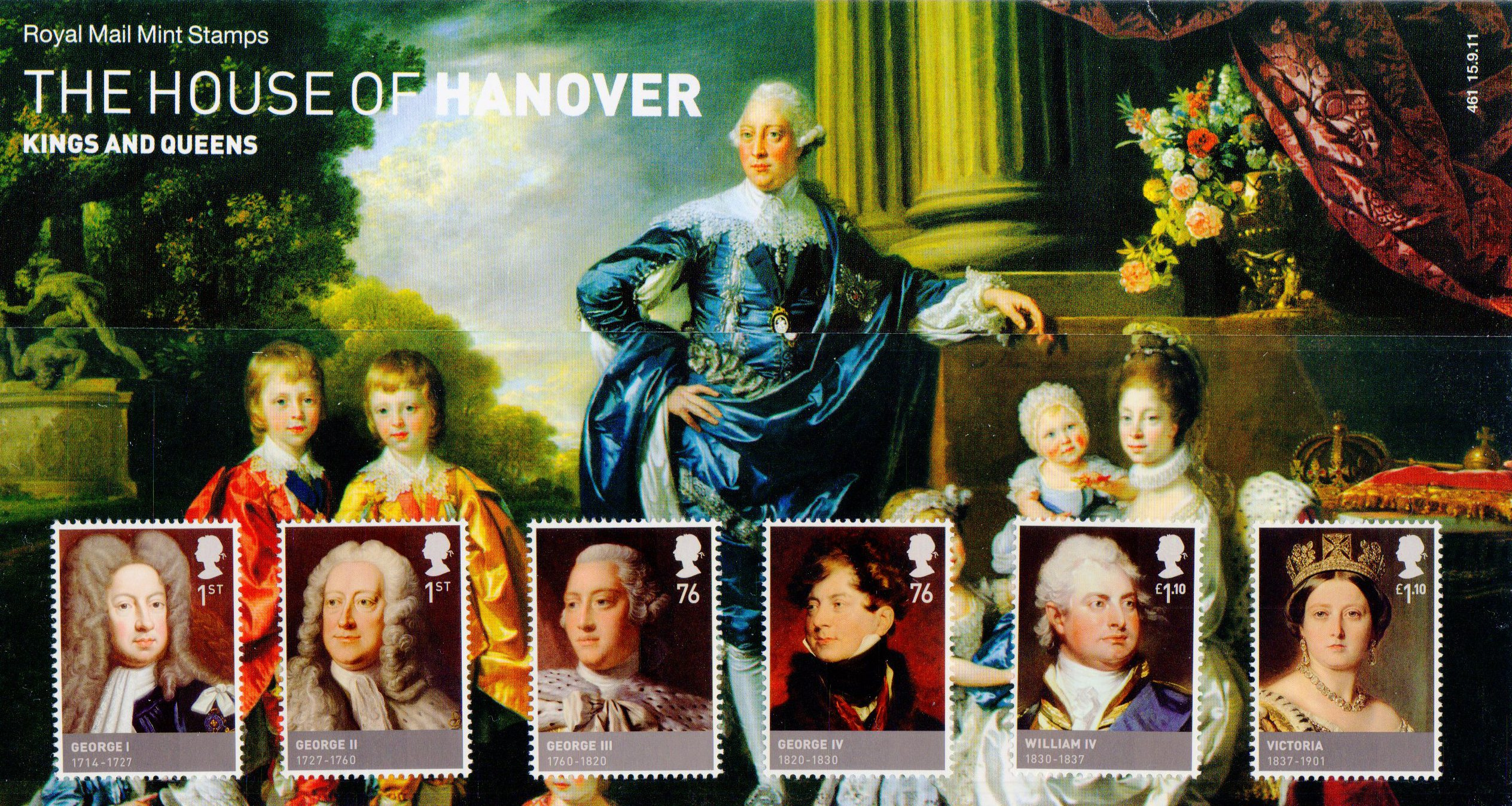 Presentation Pack with 6 images of monarchs from the House of Hanover