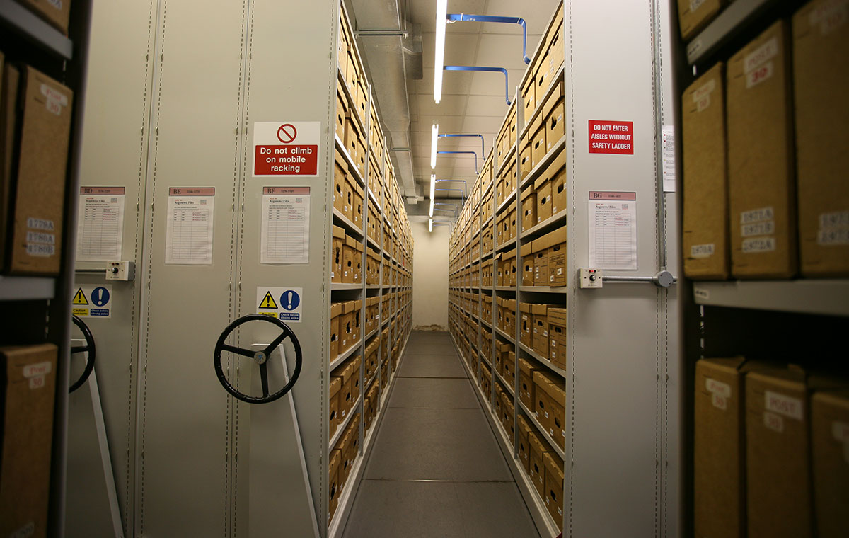 Photo of shelves and boxes in The Postal Museum respository