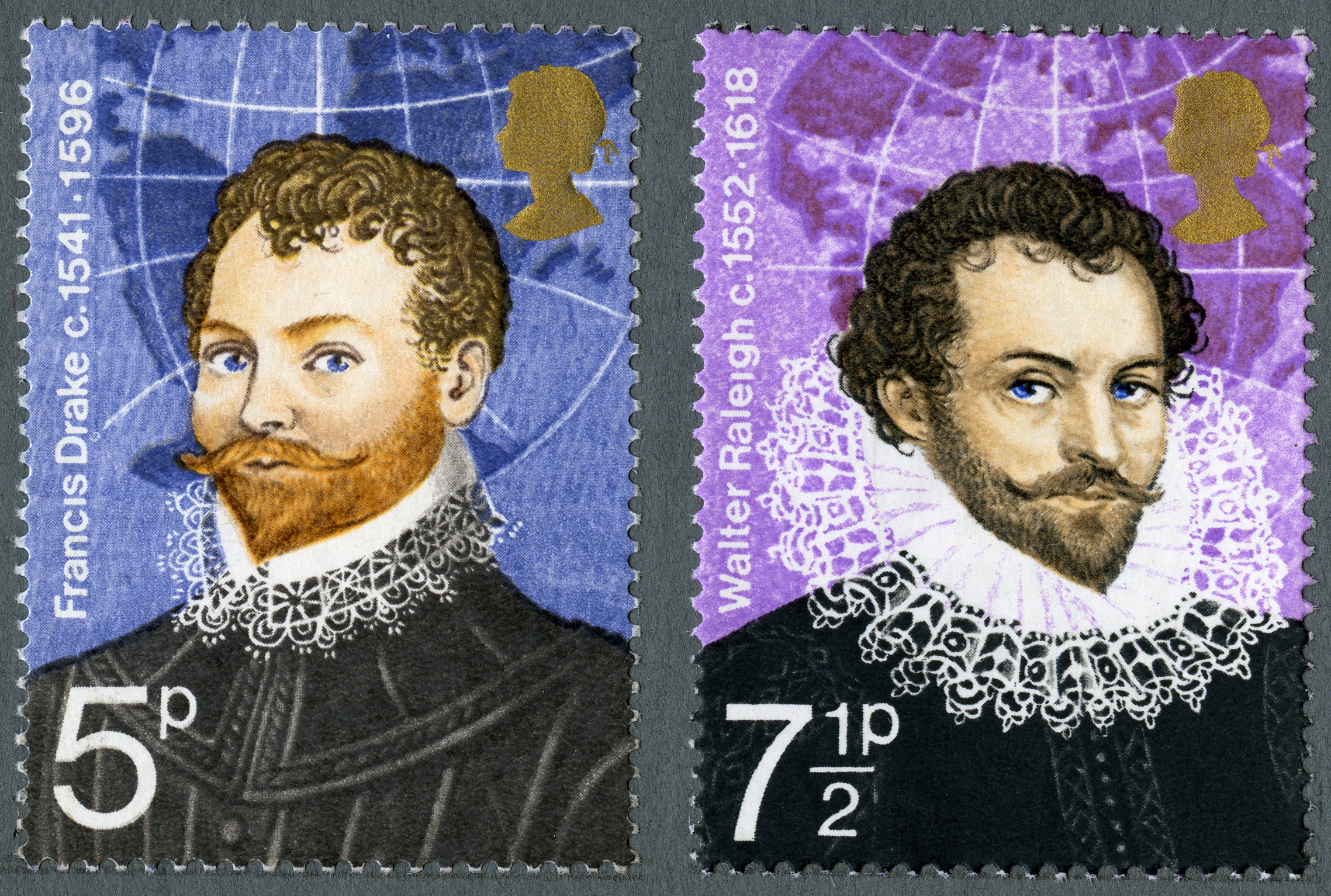 Two stamps with portraits of Sir Francis Drake and Sir Walter Raleigh