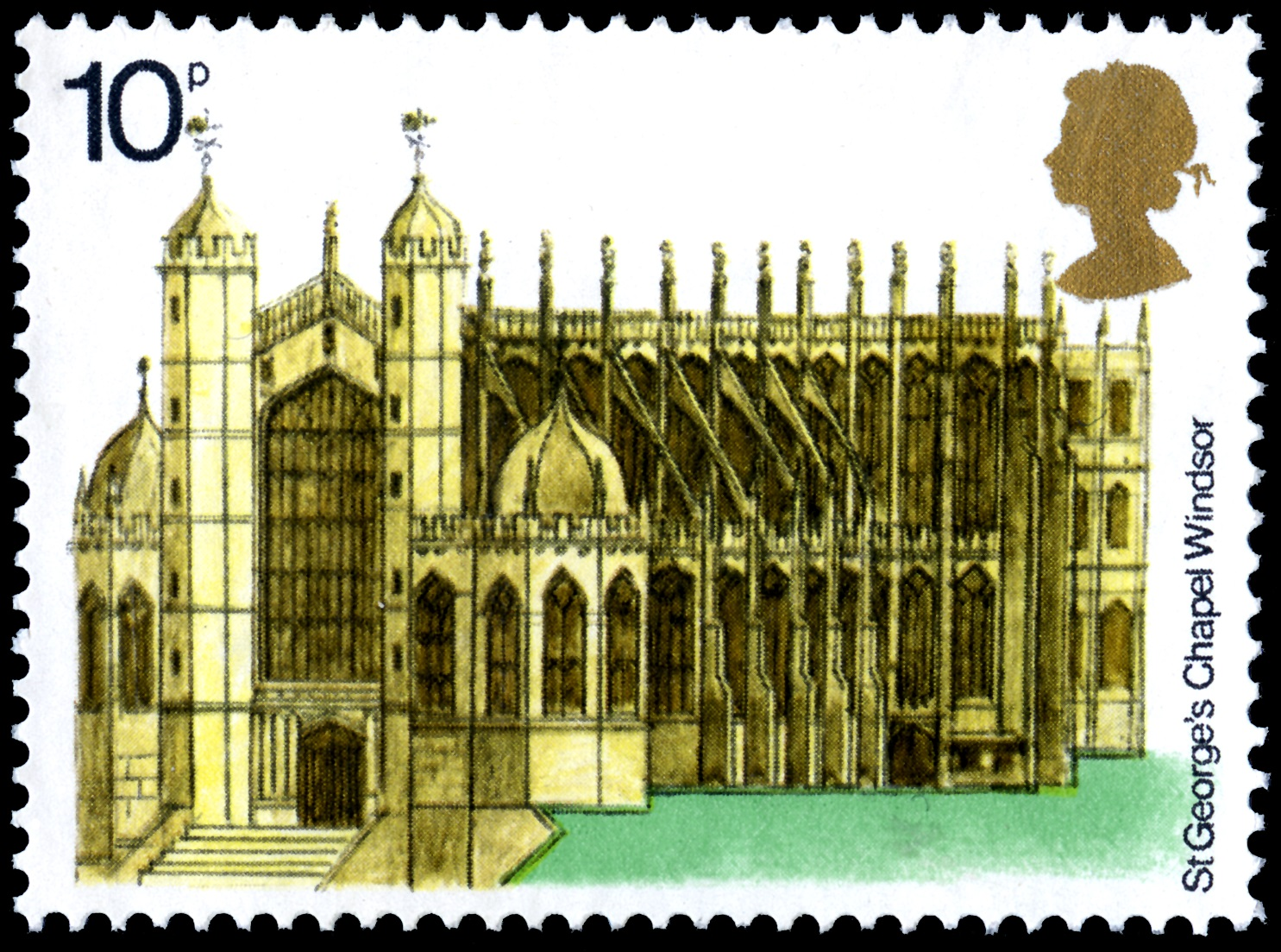 10 pence stamp depicting a drawing of St George's Chapel at Windsor Castle.