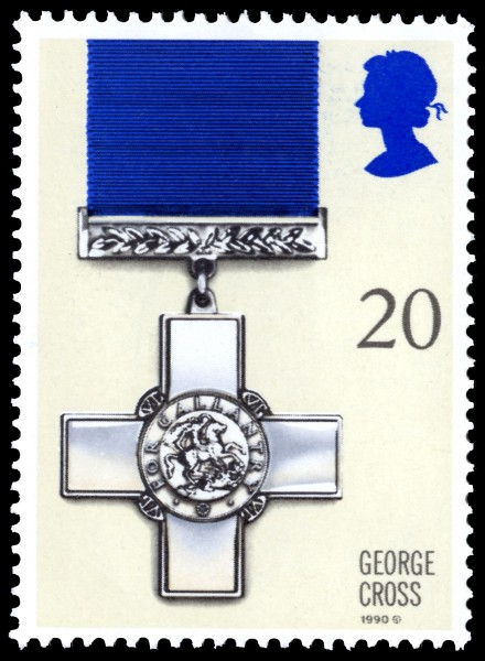 Stamp with an image of the George Cross.