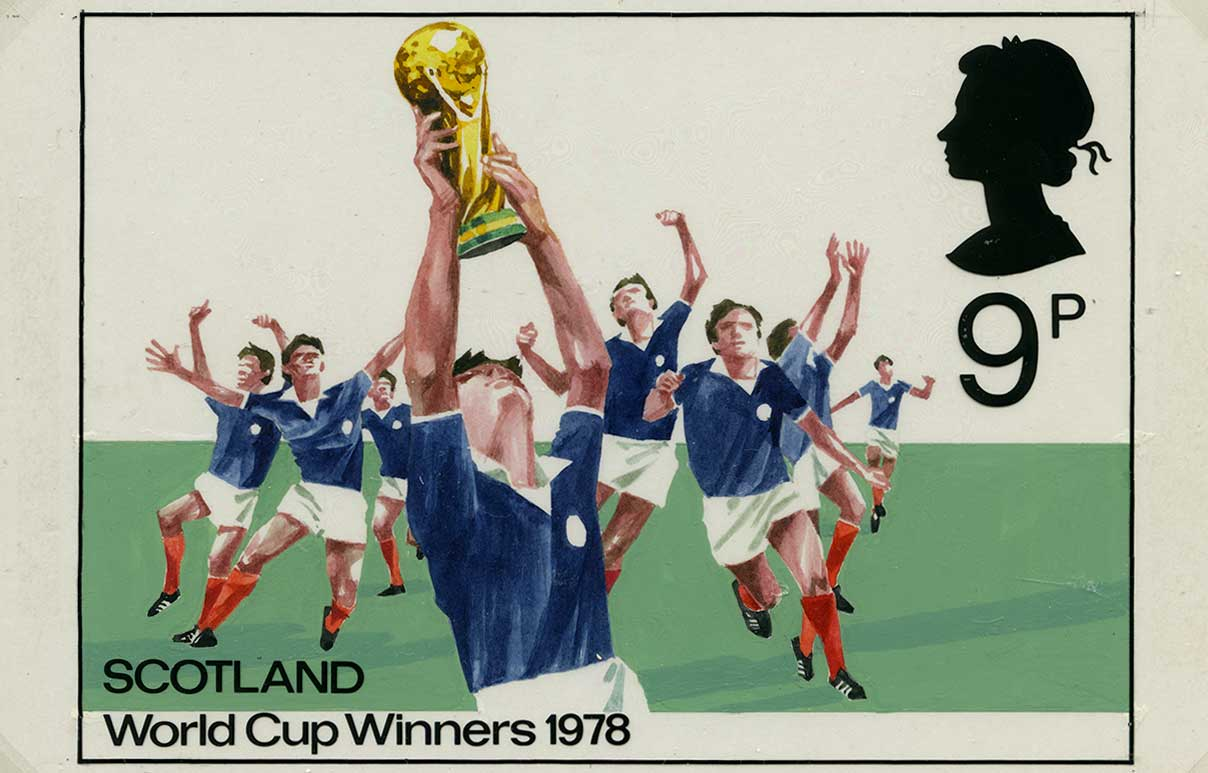 Proposed Scotland Winners World Cup stamp design, revised, 1978