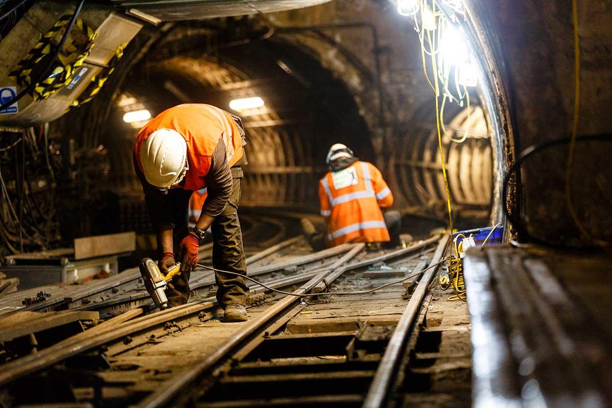 Work underway on the Mail Rail track