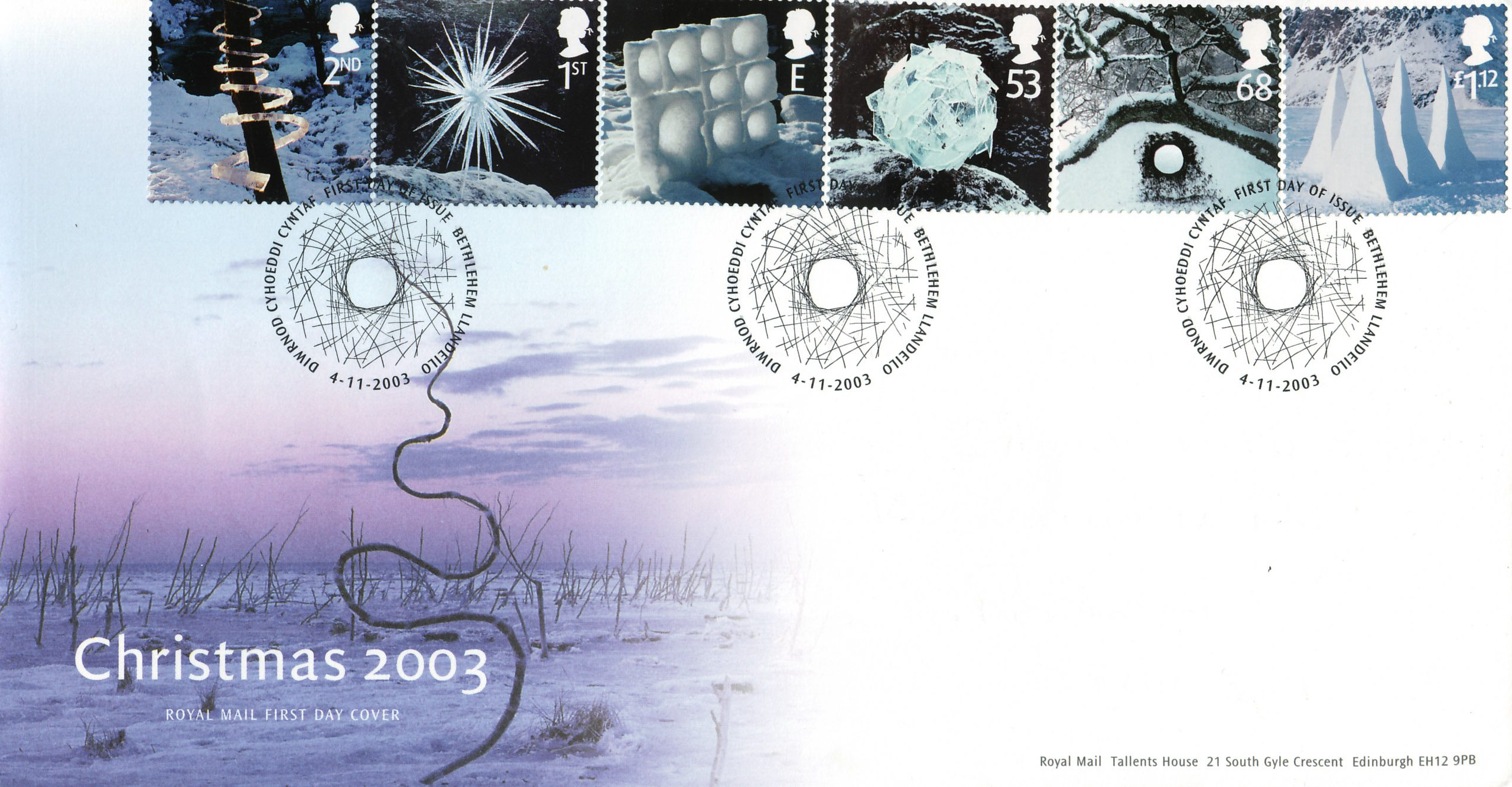 A first day Cover depicting the six sculptures Andy Goldsworthy produced for Royal Mail made from ice or snow.