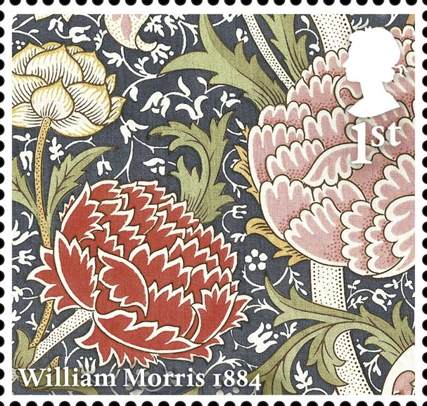 Image of William Morris wallpaper depicting large flowers on a detailed background.