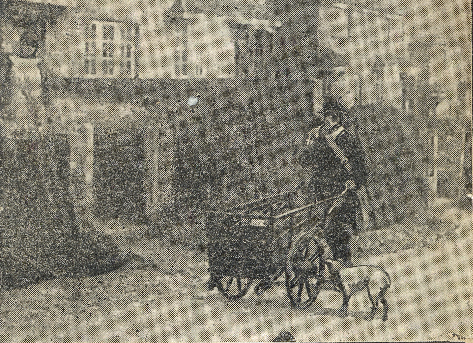 Rural Postman on delivery in Cudworth, Surrey in 1907. Beside collecting and delivering letters, Postmen could also sell stamps and postal orders, and accept telegrams and bank deposits. On entering the village he would blow on his whistle to alert the public to his presence. Unknown publication. (POST 111/60)