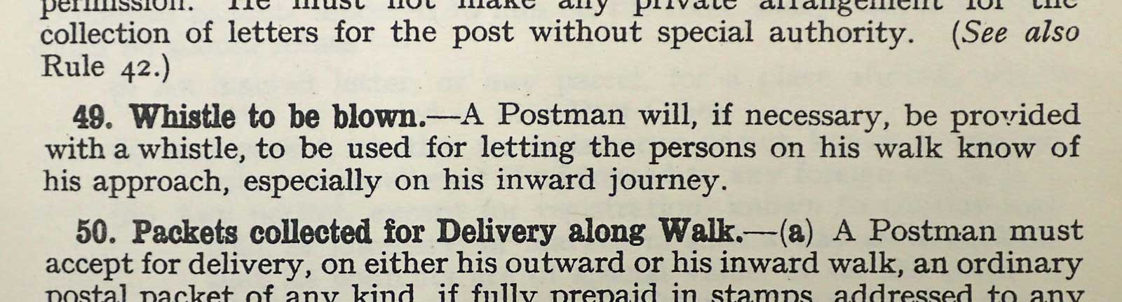 Rules for Postmen employed on Rural Duties, 1931. (POST 68/1038)