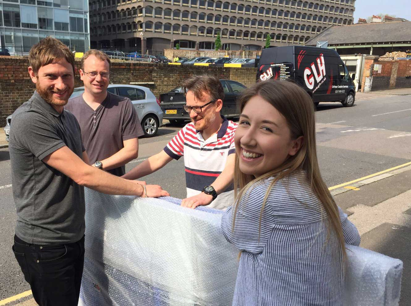 The Postal Museum team helping with the delivery of our A Frames as they make their way to New York