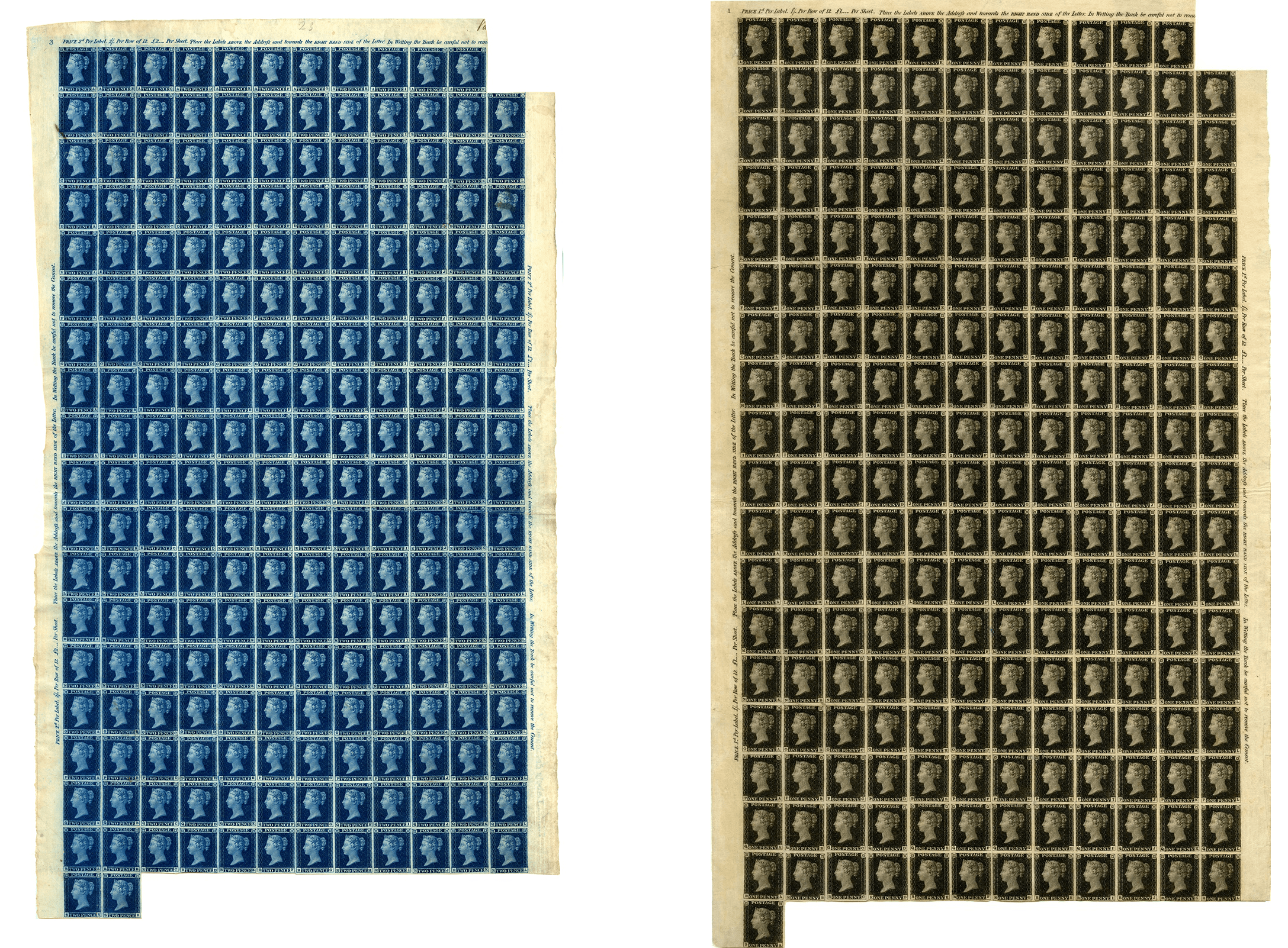 Original sheets of Twopenny Blue and Penny Black stamps