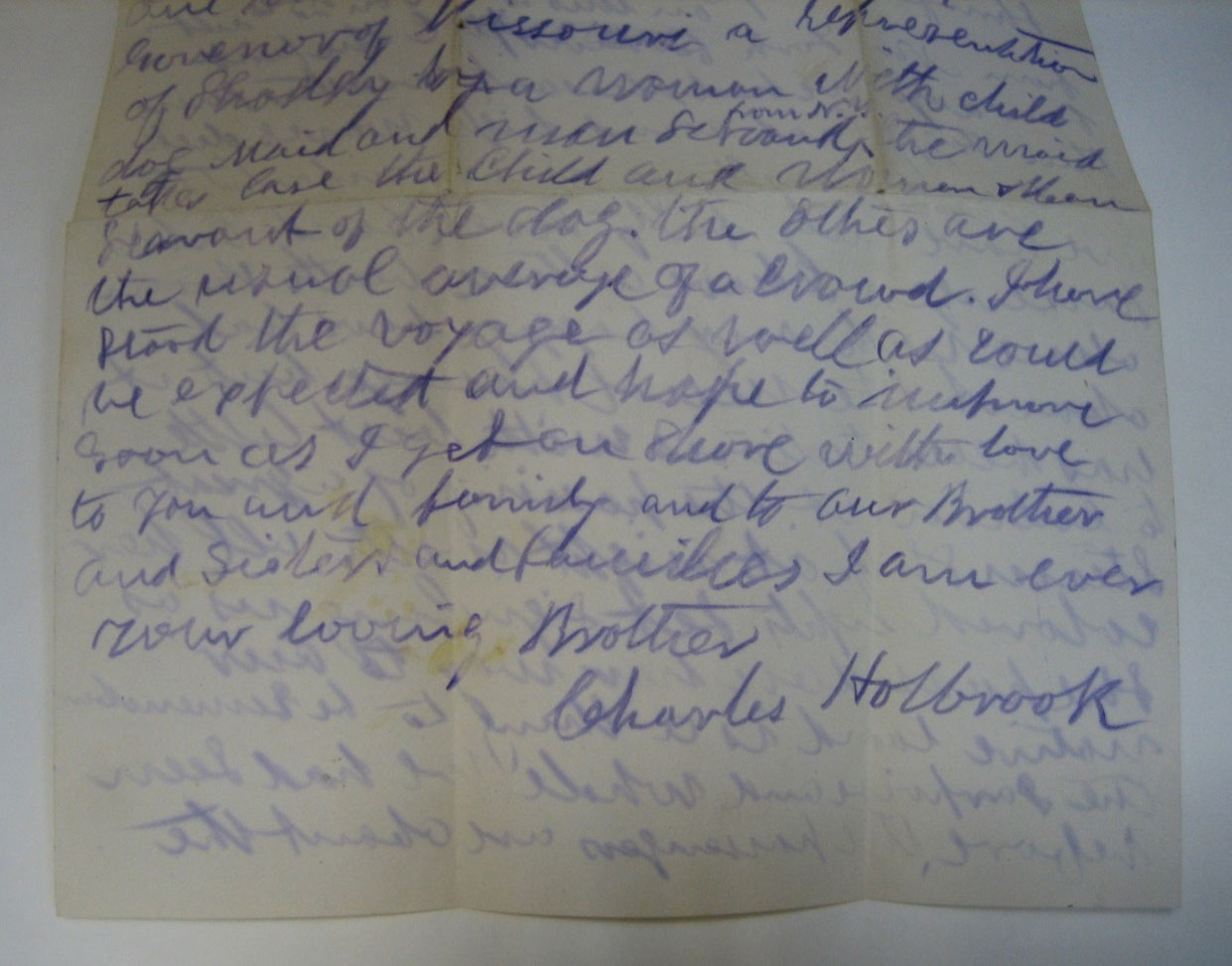 Letter from Charles Holbrook