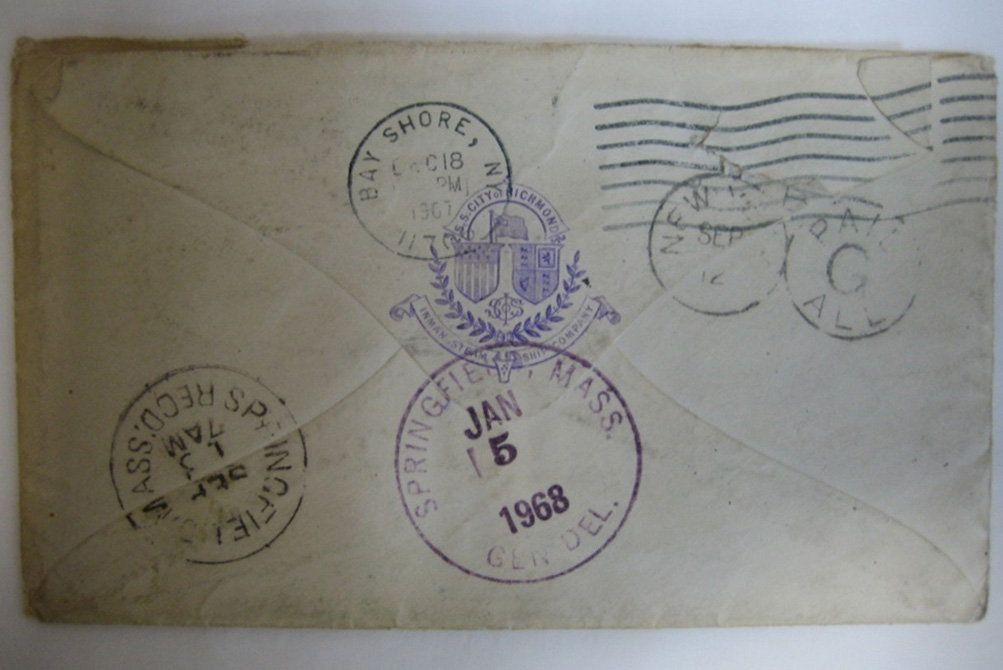Reverse of an envelope addressed to Clark B Holbrook (E2512/2a)