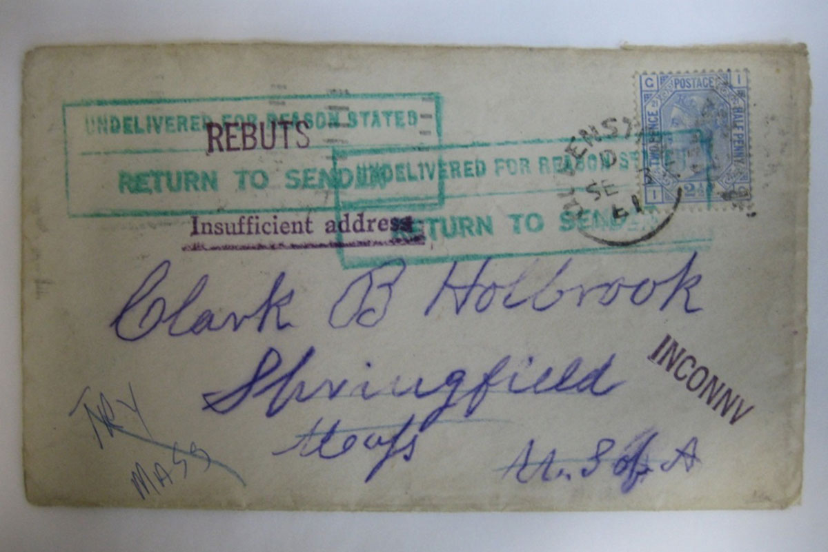 Envelope addressed to Clark B Holbrook (E2512/2a)