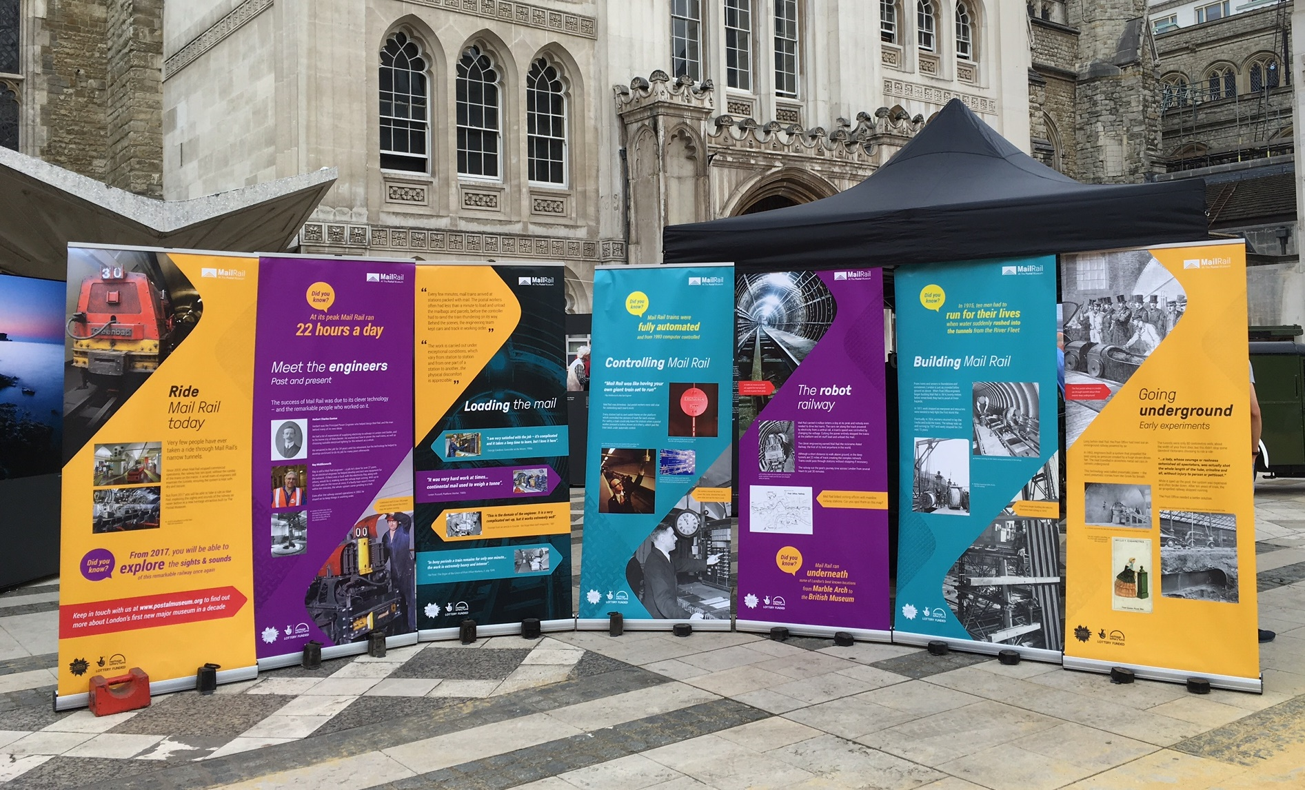 banners from the Mail Rail exhibition in the Guildhall yard