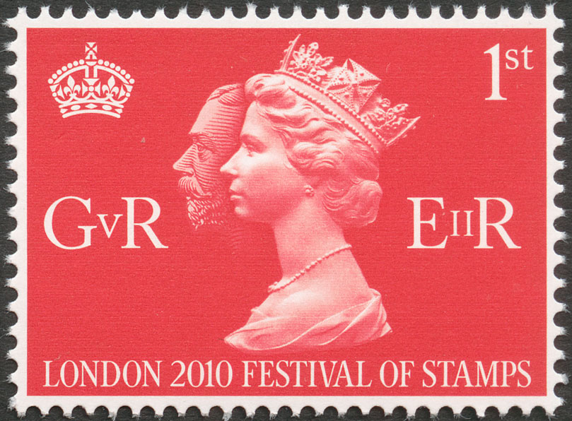 A red stamp that depicts the profiles of King George V and Queen Elizabeth II and their royal cyphers.