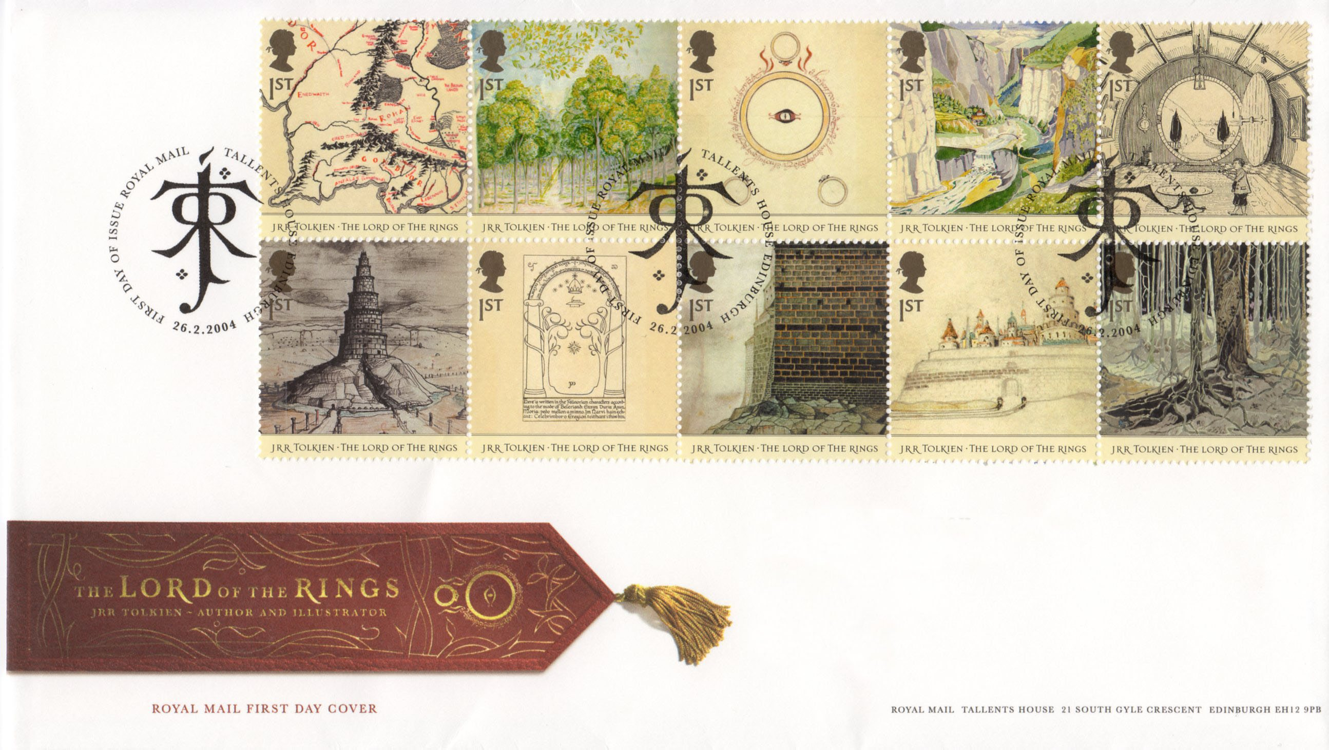 A First Day Cover with ten stamps depicting illustrations of locations in the fiction story The Lord of the Rings.