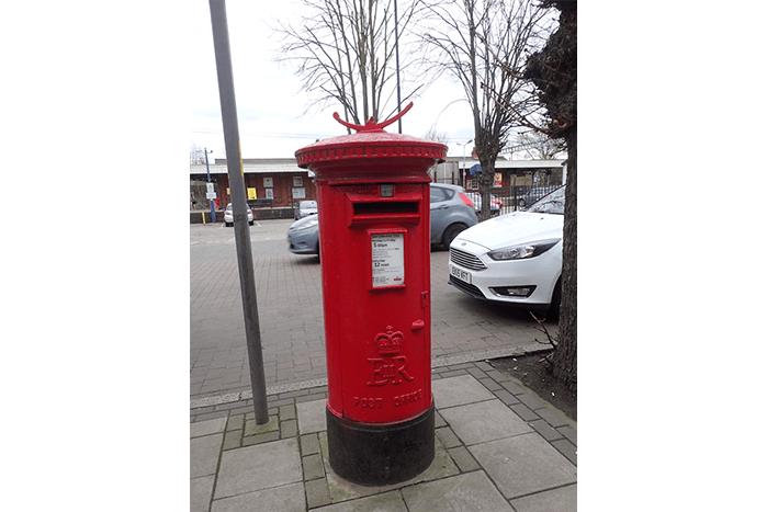 An EiiR A type pillar box