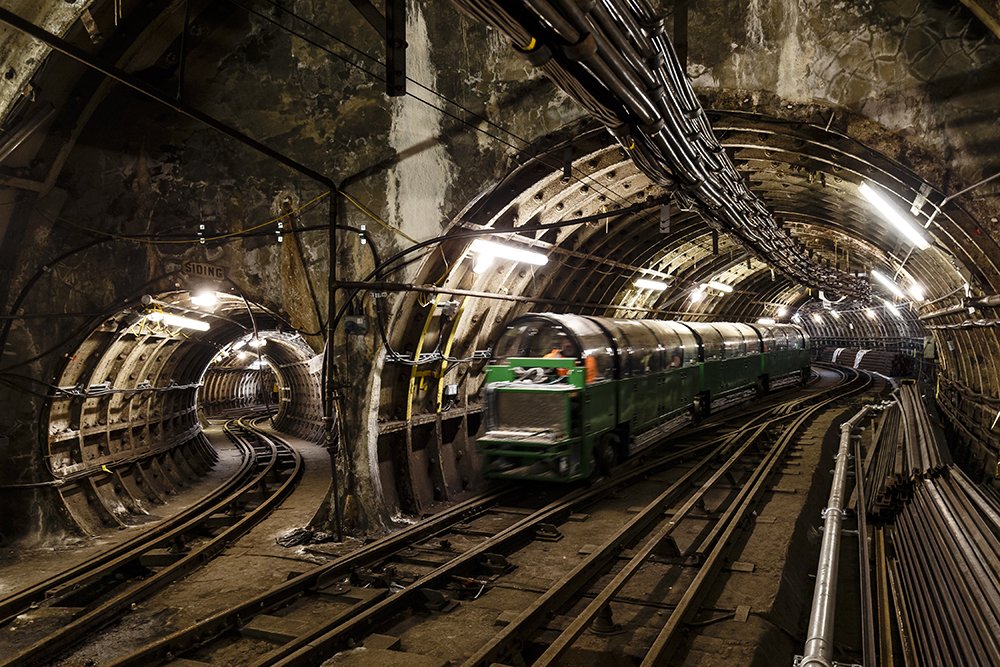Green Mail Rail train being testing in tunnels.