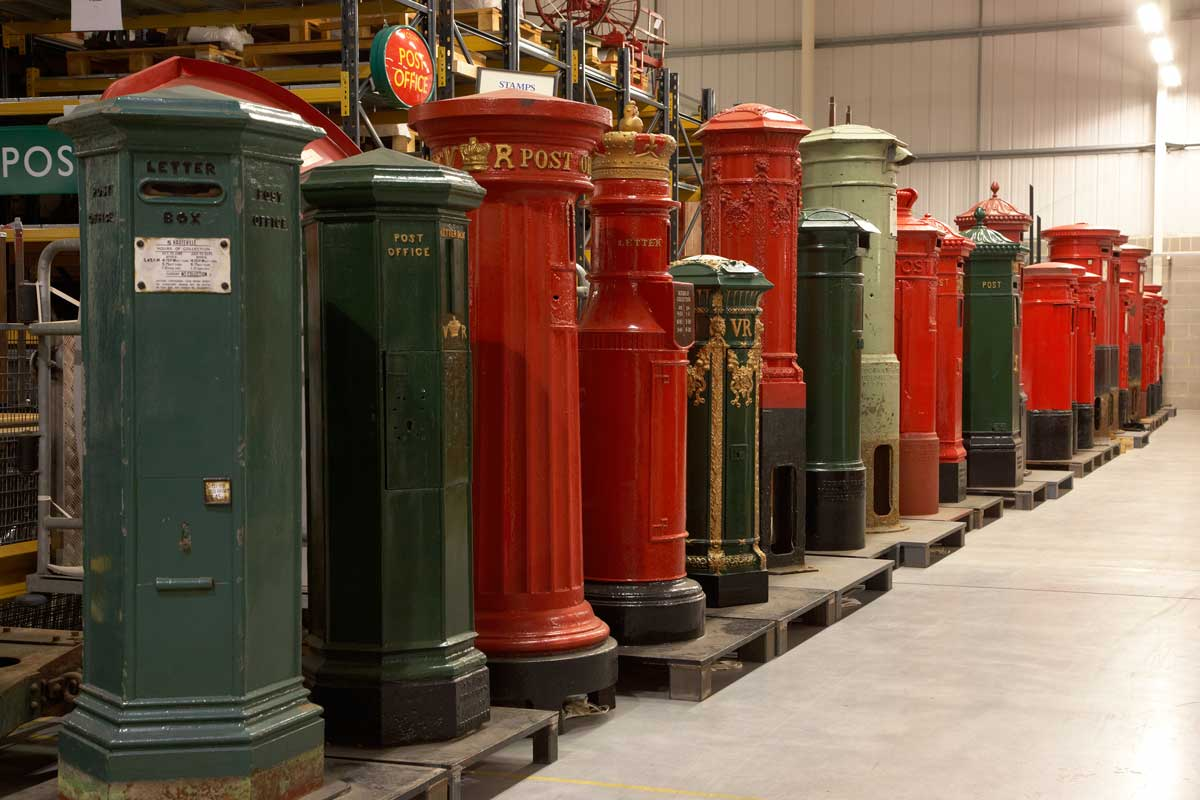 Just some of The Postal Museum's pillar box collection