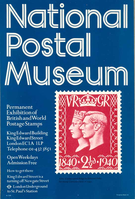 Advertisement for permanent exhibition of British and world postage stamps