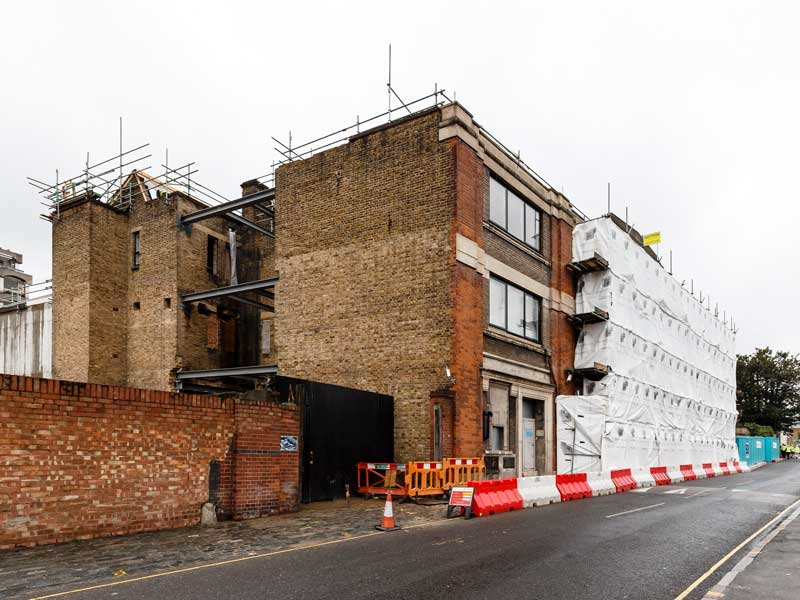 Calthorpe House surrounded by scaffolding and bollards