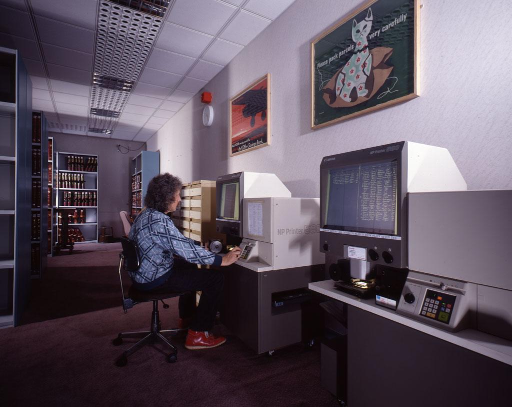 Microfilm reader in use in Public Search Room,