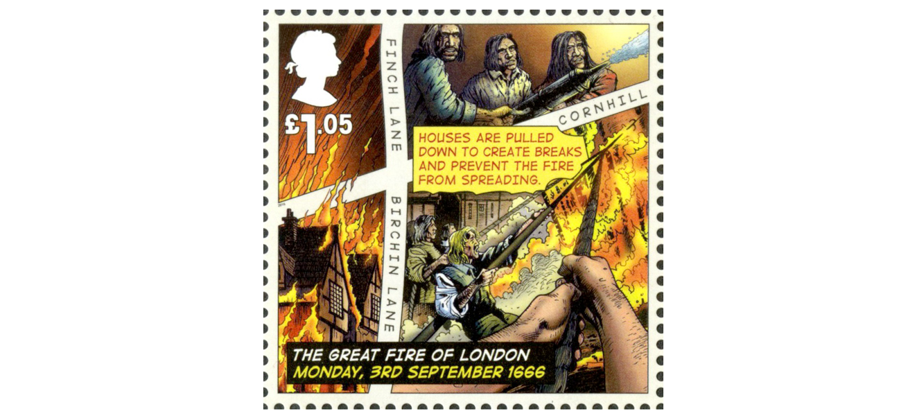 A £1.05 stamp depicting men pulling down houses to act as fire brakes in the hope of stopping the fire.