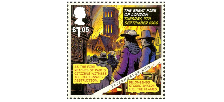 A £1.05 stamp that depicts people watching St Paul's burn down during the fire.