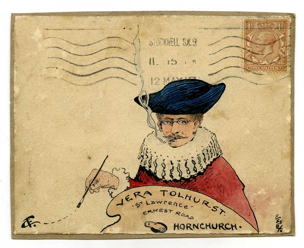 Mail art showing a painter with the address written on his easel