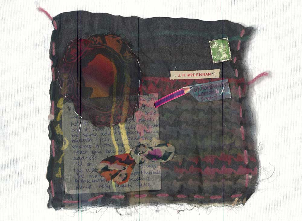 An example of mail art from Jacqui McLennan made of fabric and paper