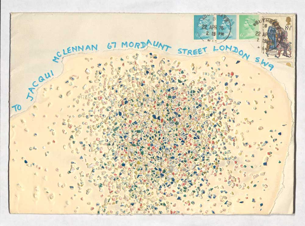 An example of mail art from Jacqui McLennan featuring colourful dots