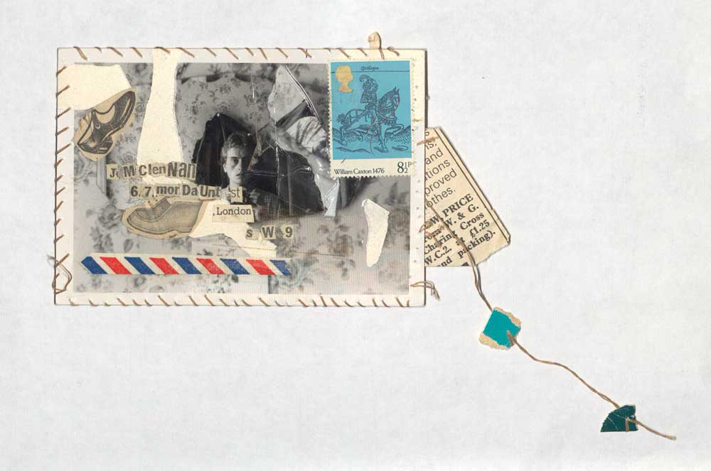 An example of mail art from Jacqui McLennan featuring assorted images stuck to a label