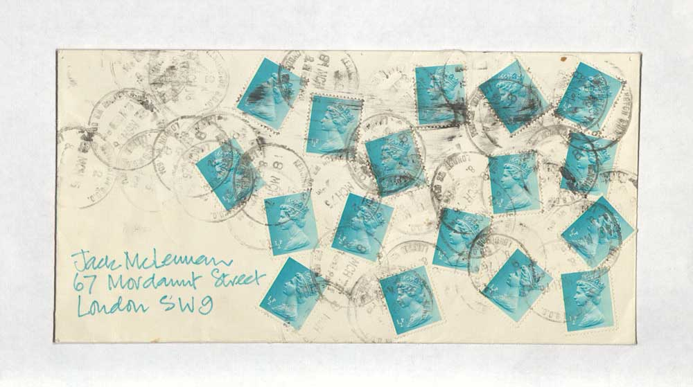 An example of mail art from Jacqui McLennan featuring multiple stamps in a pattern