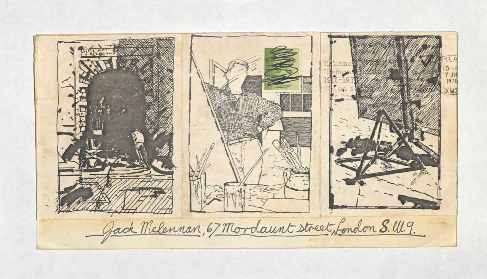 An example of mail art from Jacqui McLennan featuring three sketches