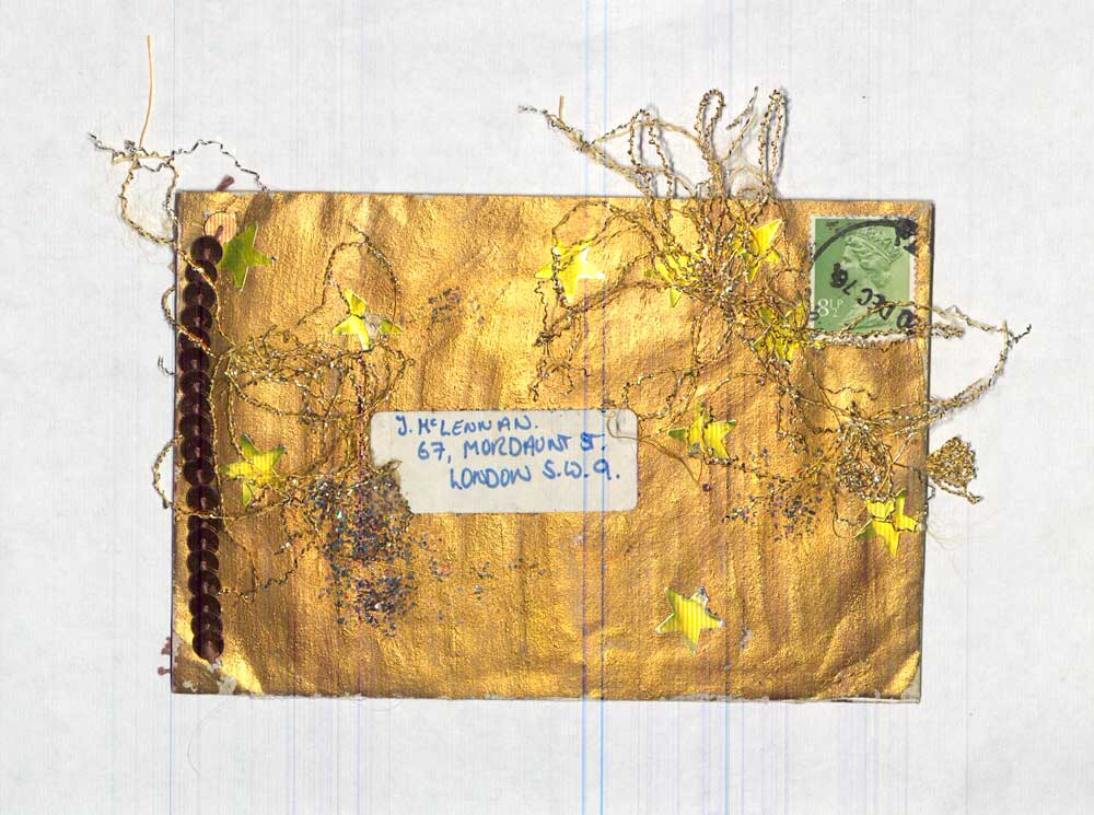 An example of mail art from Jacqui McLennan featuring gold thread
